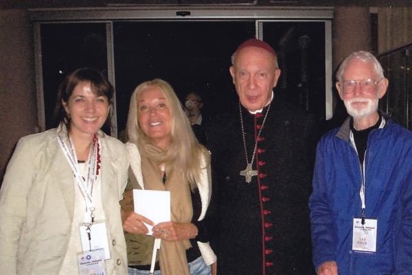 From left: Sabrina Covic Radojicic, Vassula Ryden, Mgr Andre-Joseph Leonard, Rex Evans.